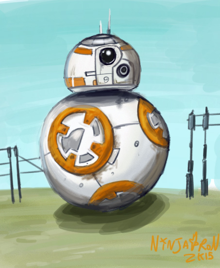 Quick painted BB8 doodle drawn by me using the software Mischief.